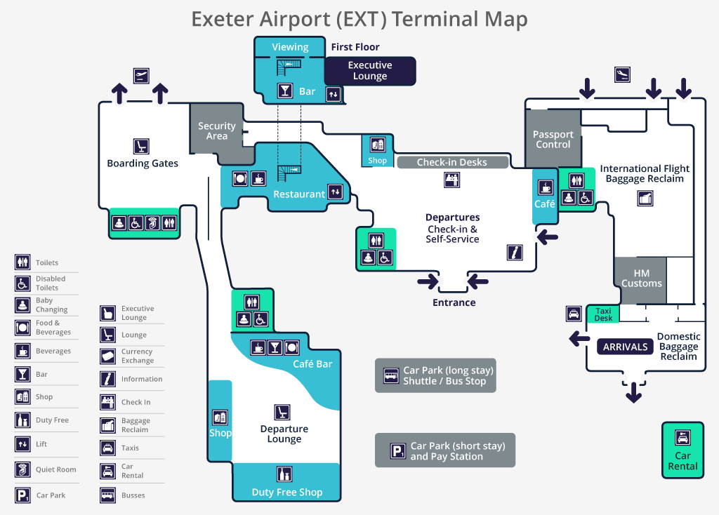 Map Of Uk Exeter.Exeter Airport Terminal Map Exeter Airport