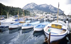 Traditional wooden boats in the harbor at Grand Marina, on the Italian island of Capri, in the Mediterranean